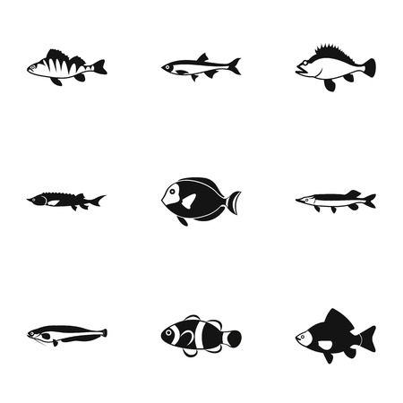 clown tang: Marine fish icons set. Simple illustration of 9 marine fish vector icons for web