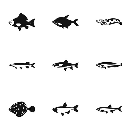 River fish icons set. Simple illustration of 9 river fish vector icons for web