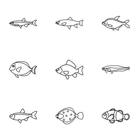clown tang: Species of fish icons set. Outline illustration of 9 species of fish vector icons for web Illustration