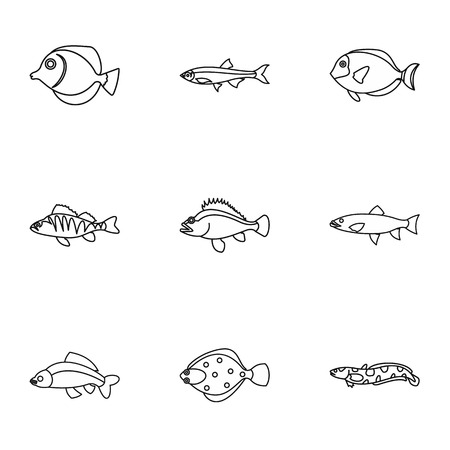 clown tang: Ocean fish icons set. Outline illustration of 9 ocean fish vector icons for web Illustration