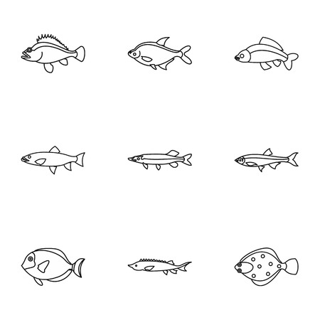 clown tang: Marine fish icons set. Outline illustration of 9 marine fish vector icons for web