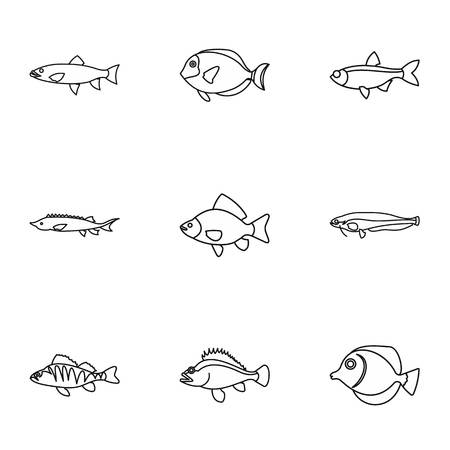 River fish icons set. Outline illustration of 9 river fish vector icons for web