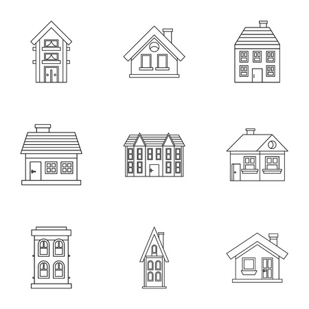 dwelling: Dwelling icons set. Outline illustration of 9 dwelling vector icons for web