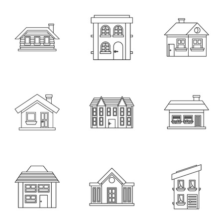 residence: Residence icons set. Outline illustration of 9 residence vector icons for web