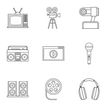 broadcasting: Broadcasting icons set. Outline illustration of 9 broadcasting vector icons for web