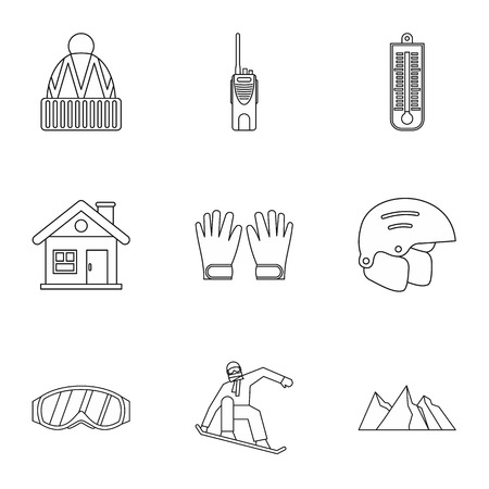 snowboard: Snowboard icons set. Outline illustration of 9 snowboard vector icons for web Illustration