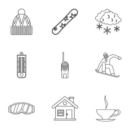 peak hat: Winter snowboarding icons set. Outline illustration of 9 winter snowboarding vector icons for web Illustration