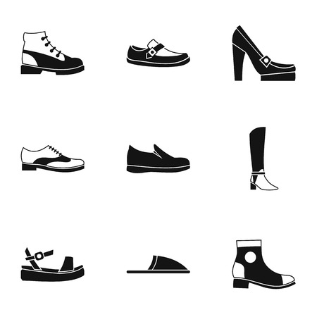 jackboot: Kind of shoes icons set. Simple illustration of 9 kind of shoes vector icons for web Illustration