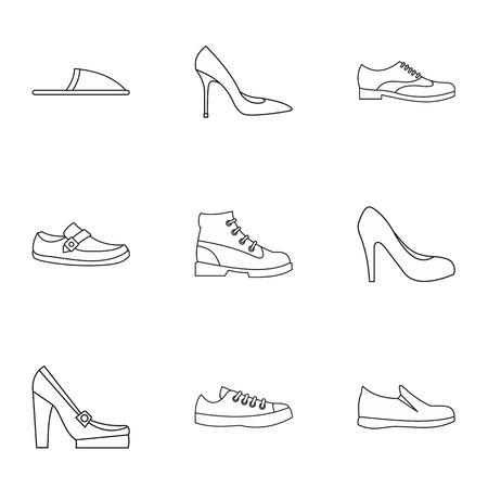 Footwear icons set. Outline illustration of 9 footwear vector icons for web Illustration