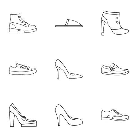 loafer: Types of shoes icons set. Outline illustration of 9 types of shoes vector icons for web