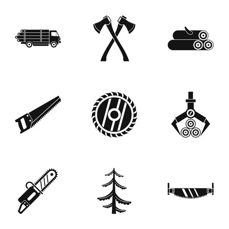 Cutting down trees icons set. Simple illustration of 9 cutting down trees vector icons for web Illustration
