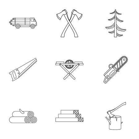 Cutting down trees icons set. Outline illustration of 9 cutting down trees vector icons for web
