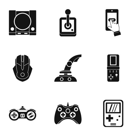 psp: Game icons set. Simple illustration of 9 game vector icons for web