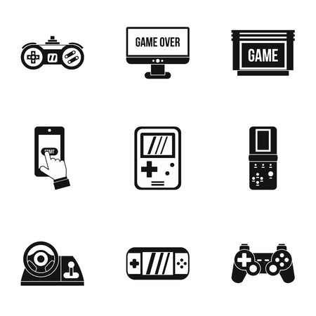 psp: Game console icons set. Simple illustration of 9 game console vector icons for web