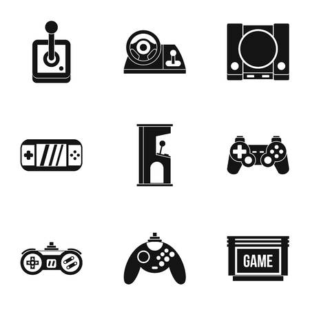 psp: Game online icons set. Simple illustration of 9 game online vector icons for web Illustration