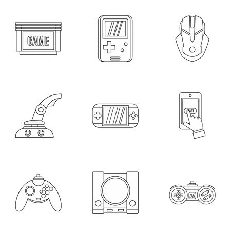 psp: Game console icons set. Outline illustration of 9 game console vector icons for web