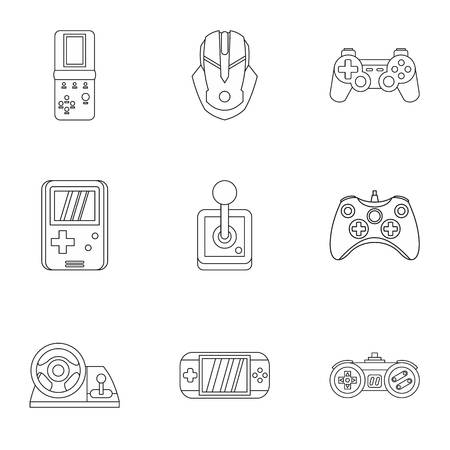 psp: Game icons set. Outline illustration of 9 game vector icons for web Illustration