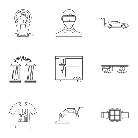 electronic devices: Latest electronic devices icons set. Outline illustration of 9 latest electronic devices vector icons for web