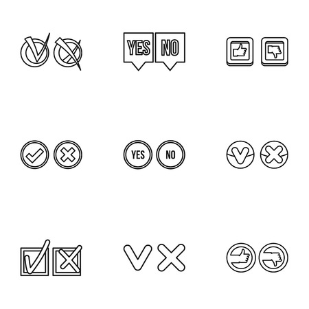 disagree: Choice icons set. Outline illustration of 9 choice vector icons for web
