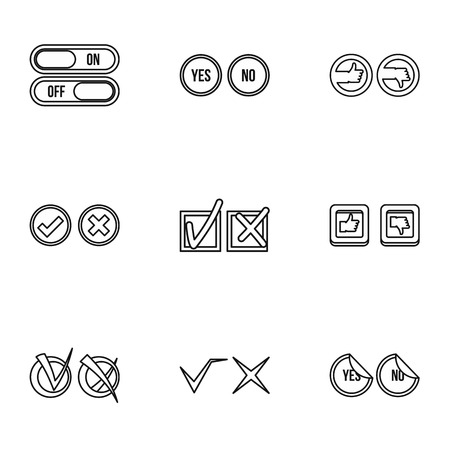 disagree: Tick icons set. Outline illustration of 9 tick vector icons for web