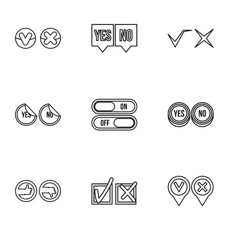 yes no: Yes no choice icons set. Outline illustration of 9 yes no choice vector icons for web