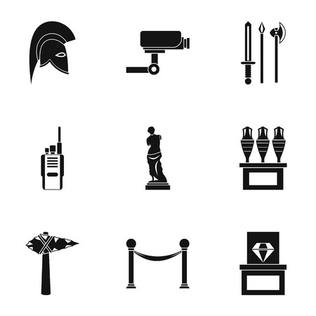 Going to museum icons set. Simple illustration of 9 going to museum vector icons for web