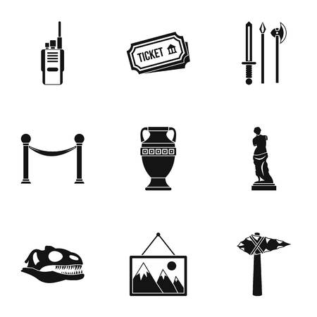 historical: Museum icons set. Simple illustration of 9 museum vector icons for web Illustration