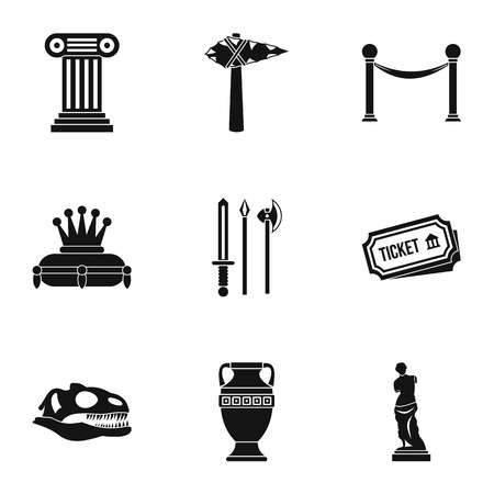 artifact: Historical museum icons set. Simple illustration of 9 historical museum vector icons for web