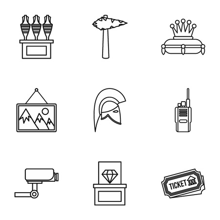 art museum: Going to museum icons set. Outline illustration of 9 going to museum vector icons for web