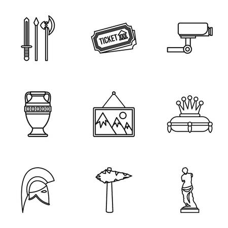 artifact: Stay in museum icons set. Outline illustration of 9 stay in museum vector icons for web