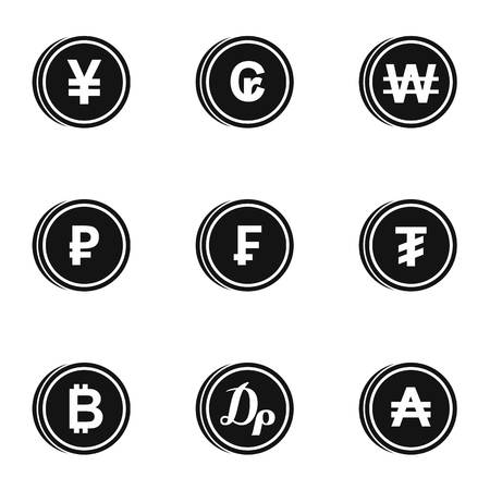 dram: Money of countries icons set. Simple illustration of 9 money of countries vector icons for web Illustration