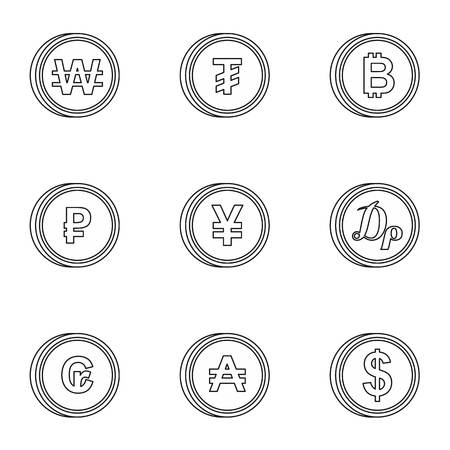 dram: Types of money icons set. Outline illustration of 9 types of money vector icons for web Illustration