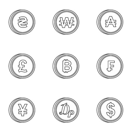 dram: Finance icons set. Outline illustration of 9 finance vector icons for web
