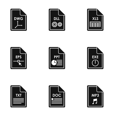 Files icons set. Simple illustration of 9 files vector icons for web