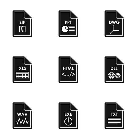 wav: Types of files icons set. Simple illustration of 9 types of files vector icons for web