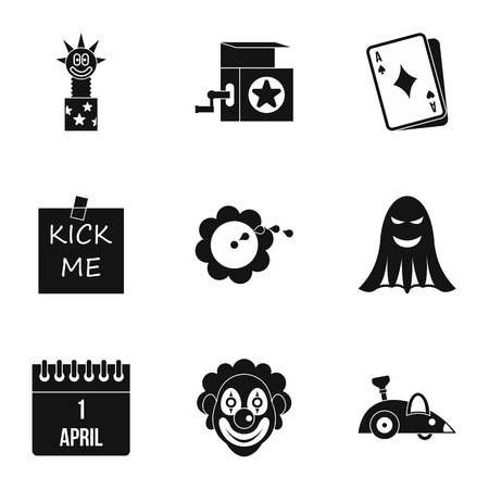 ballyhoo: First of April icons set. Simple illustration of 9 first of April vector icons for web Illustration