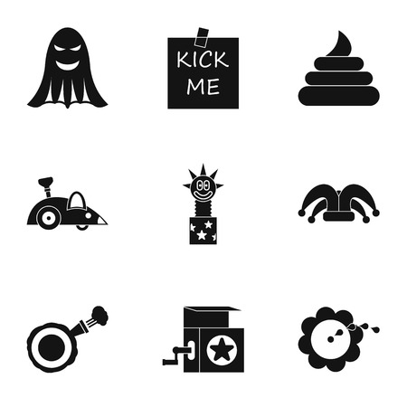 fool: April fool day icons set. Simple illustration of 9 april fool day vector icons for web