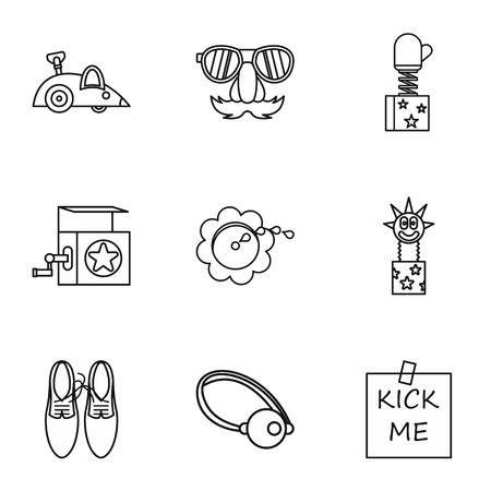 ballyhoo: Funny joke icons set. Outline illustration of 9 funny joke vector icons for web