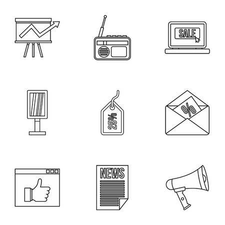 contextual: Contextual advertising icons set. Outline illustration of 9 contextual advertising vector icons for web