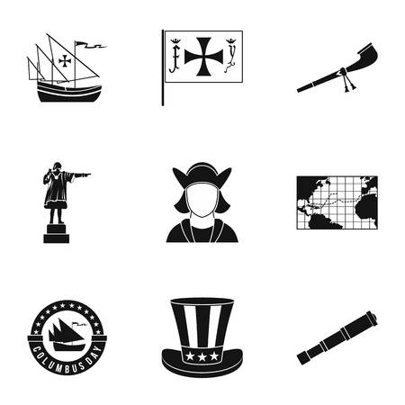 mainland: Search of mainland icons set. Simple illustration of 9 search of mainland vector icons for web