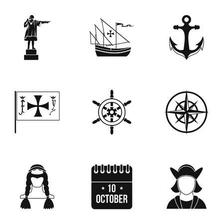 geography: Geography icons set. Simple illustration of 9 geography vector icons for web
