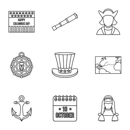pioneer: Pioneer icons set. Outline illustration of 9 pioneer vector icons for web
