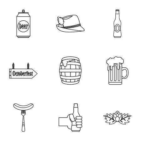 alcoholic beverage: Alcoholic beverage icons set. Outline illustration of 9 alcoholic beverage vector icons for web Illustration