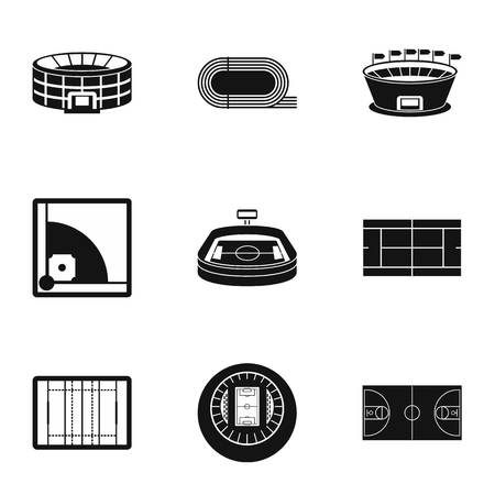 Game at stadium icons set. Simple illustration of 9 game at stadium vector icons for web Vettoriali