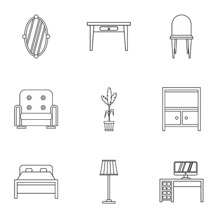 home furnishings: Home furnishings icons set. Outline illustration of 9 home furnishings vector icons for web Illustration