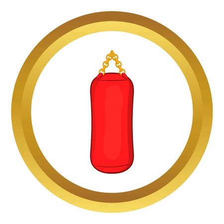 kickboxing: Red sports pear vector icon in golden circle, cartoon style isolated on white background Illustration