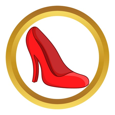 Red women shoes vector icon in golden circle, cartoon style isolated on white background