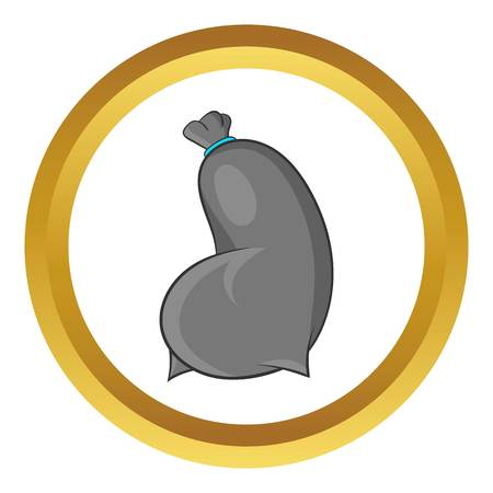 dumping: Trash bag vector icon in golden circle, cartoon style isolated on white background