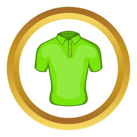 Mens green polo vector icon in golden circle, cartoon style isolated on white background