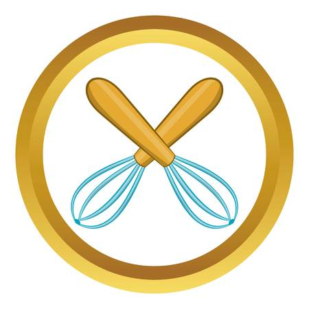 Crossed kitchen whisks vector icon in golden circle, cartoon style isolated on white background